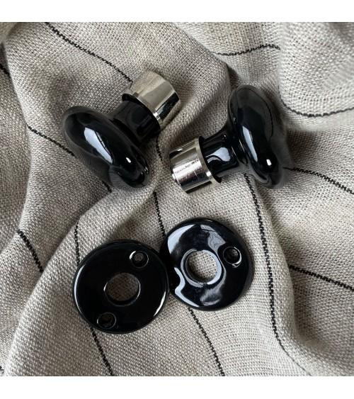 bouton de porte rond double paire rosace porcelaine laiton nickelé blanc noir