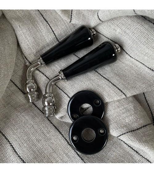 poignée de porte béquille double paire rosace porcelaine laiton nickelé blanc noir
