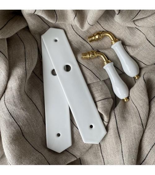poignée de porte béquille sur plaque blanc laiton porcelaine subtile home